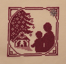 Christmas Silhouette Sharing Christmas Story with charm cross stitch Handblessin - $5.00