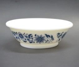 Avon Bowl Milk Glass Dish Blue White Floral 1970s Vintage - $14.77