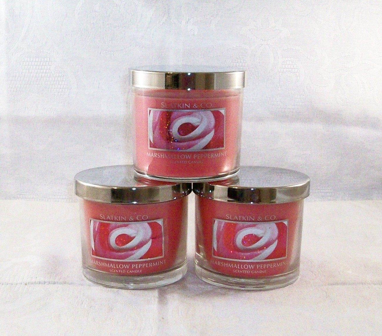 (3) Marshmallow Peppermint 4 oz Scented Candles Slatkin & Co