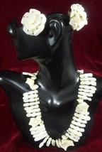 Shell Chip Choker Necklace Clip On earrings Set White demi-parure vintag... - $19.77