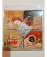 Stone Coasters CHEESE VARIETIES by Boston Warehouse Cork Backing Set of 4 - $13.85