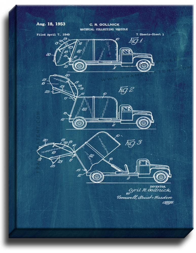Primary image for Garbage Truck Patent Print Midnight Blue on Canvas