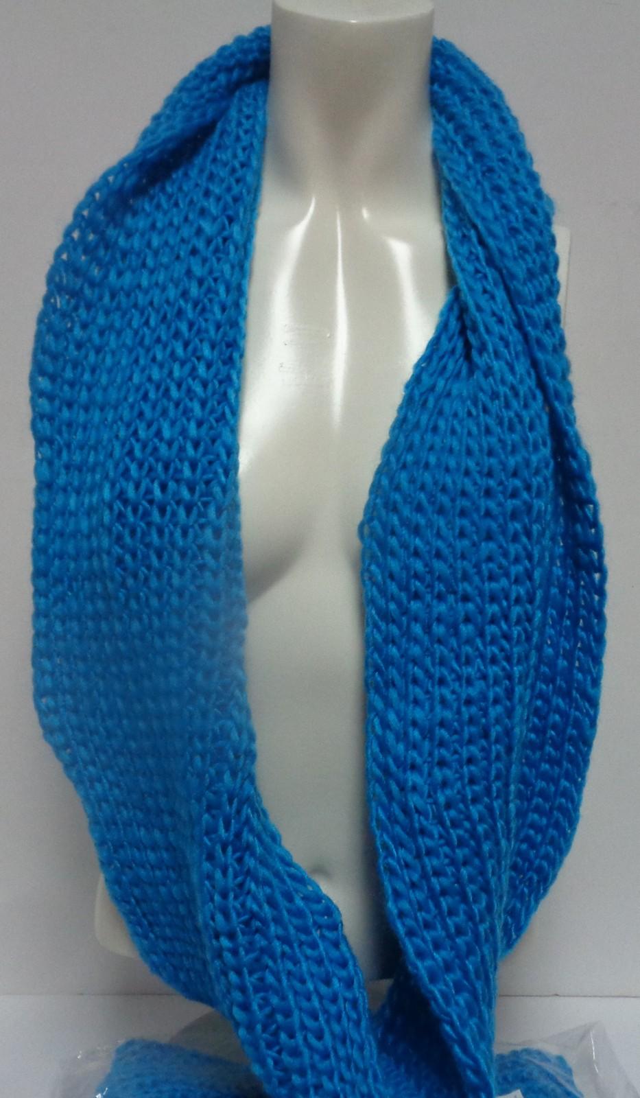 "Winter Scarf Brilliant Blue NWT Women's Sz Adult 27"" Infinity Style Free Ship"