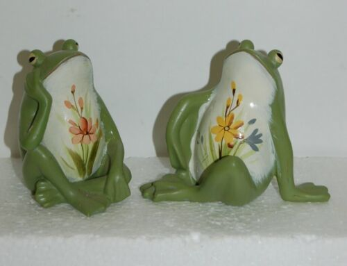 Handpainted Frog Figurines Green Color Flower Design 3-1/2 Inches Tall 10100942