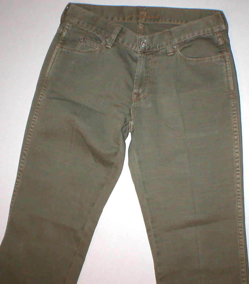 New 24 Womens 7 for all mankind Army green pants 27 X 32 Dark Forest green olive