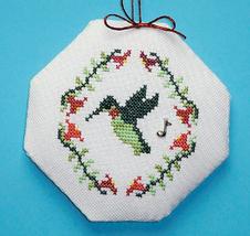 Songbird Ornament Hummingbird with charm cross stitch chart Handblessings - $3.50