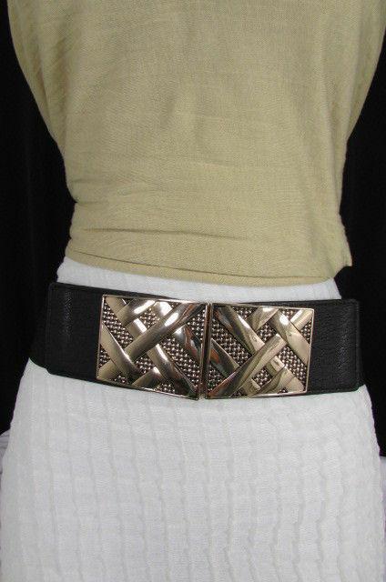 Nero,da Donna Elastico Moda Cintura Vita Metallo Oro Strisce Fibbia Quadrata S M image 2