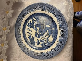 "Churchill Blue Willow Dinner Plate Made in Staffordshire, England 10 1/4"" image 1"