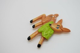 Vintage Plastic Eating Deer Brown Green Pin Brooch image 2