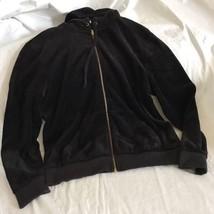 Juicy Couture Hoodie Med Full Zip Hoodie Black Velour Track Jacket EXC!! - $29.99