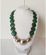 Vintage Green Flat Disc Necklace with Silver Clasps - $58.50
