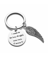 Dad Memorial Jewelry I Used to Be His Angel Keychain,Memorial Bangle Bra... - $9.49