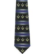 Masonic Stripe Men's Necktie Gold Compass Square Freemason Mason Black N... - $15.79