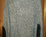 NWOT WOMENS HANES JUST MY SIZE LACE SLEEVE INSET RIB KNIT TOP 2X GREY HEATHER