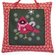 Candy Cane Cardinal with charm cross stitch chart Handblessings - $8.50