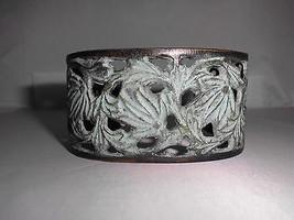 VTG Victorian Styled Lt Green Enamel Ivy Metal Bracelet Faux Oxidation L@@K - $19.80
