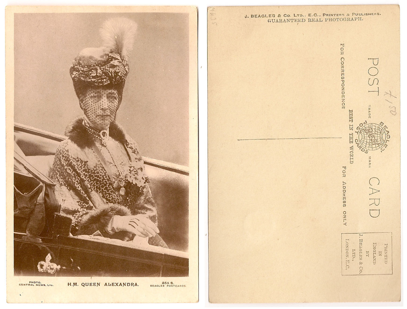 Old Sepia Photographic Postcard - Queen Alexandra