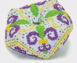 Fleur de Lis Biscornu with charm cross stitch chart Handblessings - $8.00