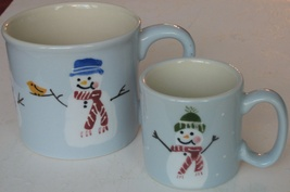 HARTSTONE Pair of Large & Small Snowman Winter Holiday Mugs Handpainted Adorable - $11.99