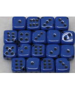 7mm Royal Blue with Inlay Czech Dice Beads 18 t... - $2.50