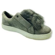 Sam Edelman Womens Leya Sneakers Shoes Gray Low Top Slip On Faux Fur 10M... - $32.37