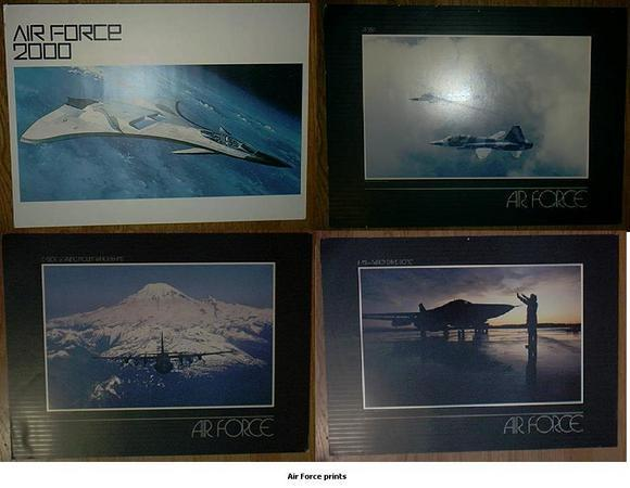 set of US Air Force unframed lithographs lithos prints