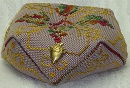 Oak Leaf Biscornu with charm autumn cross stitch chart Handblessings - $8.00