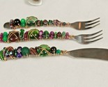 Capco Winco Stainless Steel Purple Plum Green Glass Bead & Wire Wrapped Utensils