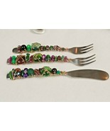 Capco Winco Stainless Steel Purple Plum Green Glass Bead & Wire Wrapped ... - $24.75