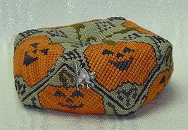 Jack O Lantern Biscornu with charm autumn cross stitch chart Handblessings - $8.00