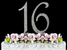 Rhinestone Cake Topper Number 16 by other - $12.59