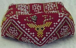 Reindeer Biscornu with charm christmas cross stitch chart Handblessings - $8.00