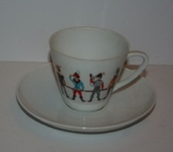 Vintage Porcelain German TeaCup & Saucer Set Rabbit Men Robin Hood? Germany - $14.99