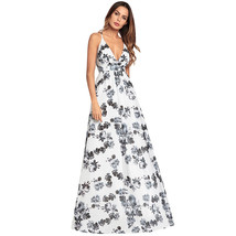 AOVEI White Floral Print High Waist Deep V Night Out Long Flared Beach Dress - $34.99
