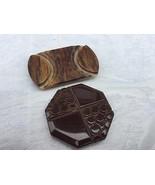 Lot 2 Vintage Single Shoe Buckes - 1 Carved Bakelite - $9.85