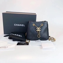 NEW AUTHENTIC CHANEL 2019 BLACK LEATHER DRAWSTRING BUCKET BAG GOLD HW RECEIPT