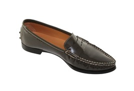 TOD'S Loafer Flat Shoe Olive Green Patent Leather Driver Penny Heel 8 - $185.25
