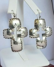Vintage Sterling Silver Mexico td Hammered Cross Earrings 1980's - $45.05
