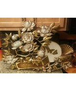VINTAGE 1973 Syroco Gold HOLLYWOOD REGENCY Flowers Butterfly Wall Hangin... - $32.67