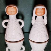 2 (Two) VINTAGE SCANDINAVIAN TERRACOTTA BELLS Boy & Girl Singing Figurines - $28.49