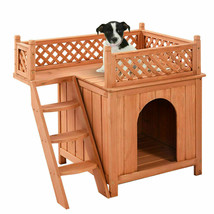 Wood Pet Dog House Wooden Puppy Room Indoor & Outdoor Roof Balcony Bed S... - $68.59