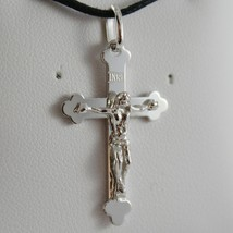 18K WHITE GOLD CROSS WITH JESUS, SMOOTH, FINELY WORKED ENGRAVABLE MADE IN ITALY image 1