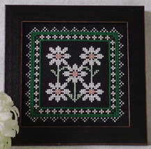 Daisy Something Special On Black floral cross stitch chart Handblessings - $4.00