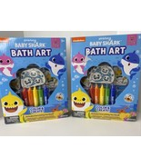 2 PinkFong Baby Shark Bubble Bath Art Color Create Set Crayons Stickers ... - $27.67
