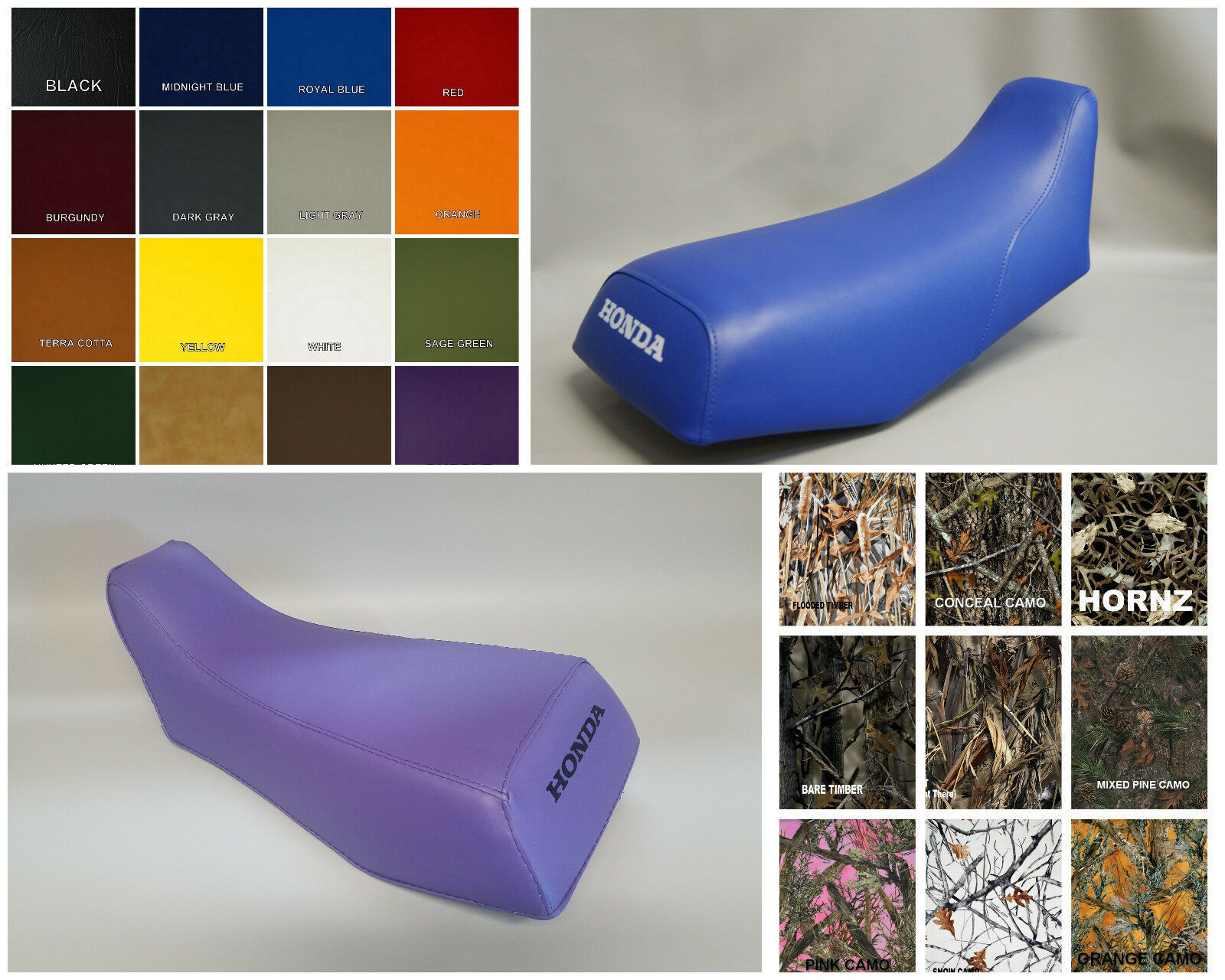 Primary image for HONDA TRX70 Seat Cover in default solid BLACK, 25 COLORS,& 2-TONE Options (ST)