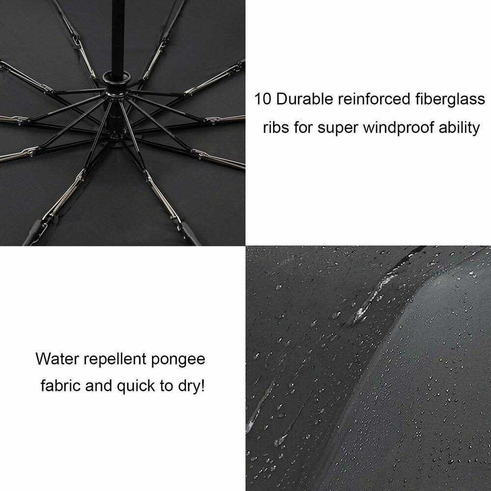 GoldenBrella® 10Rib Wind Quality Resistant 3 Fold Umbrella Rain Women