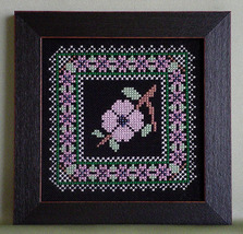 Dogwood Blossom Something Special On Black floral cross stitch Handblessings - $4.00