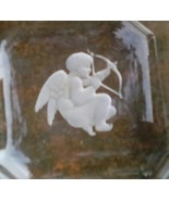 Pair Intaglio Salt Cellars.  Square with Cupid Image.  G-074 - $28.00