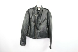 Vintage 90s Tommy Hilfiger Mens Medium Faux Leather Motorcycle Racer Jac... - $79.15
