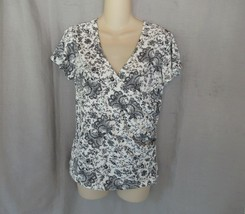 Rafaella top blouse cross-over  M white black floral print cap sleeves r... - $12.69